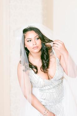 Bride Peaking to Look for her Groom
