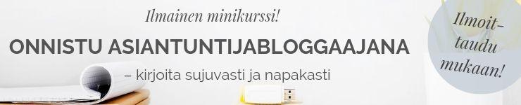 Blogitekstien kirjoittaminen, pääset alkuun ilmaisella verkkokurssilla.