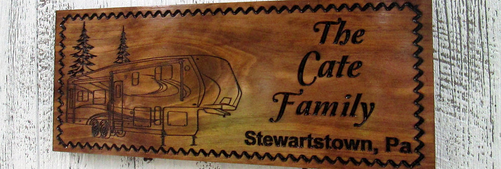 5th Wheel Camper Sign, Custom Camper Sign, Family Campsite Sign, C111