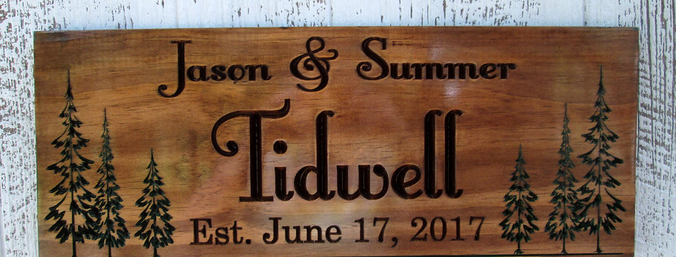 Last Name Established Sign with Pine Trees, Custom Family Sign, C108