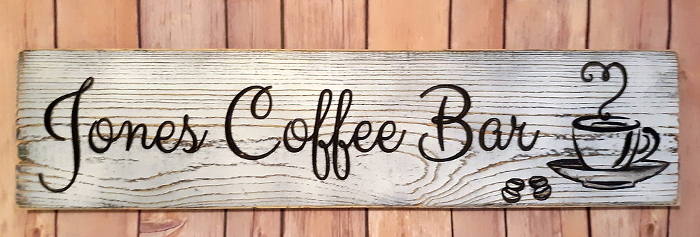 Custom Coffee Bar Distressed Sign