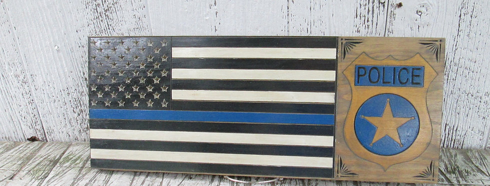 Blue Line Police Flag Sign with Shield, Custom Carved Wood Sign, FLAG104