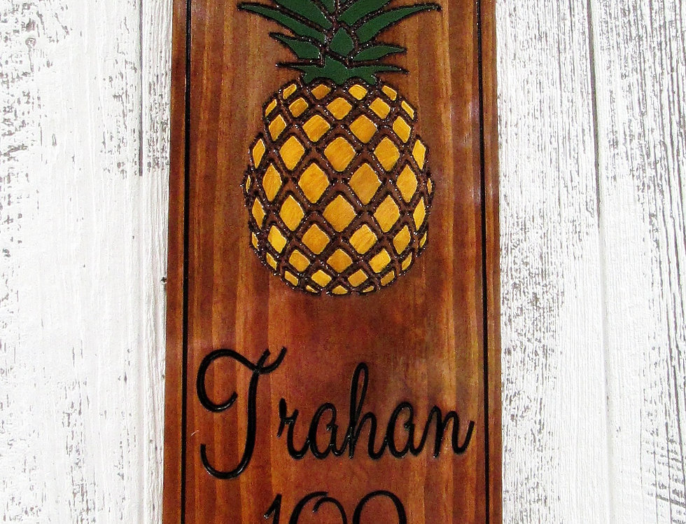Custom Address Sign with a Pineapple, Carved and Hand painted Sign, H103