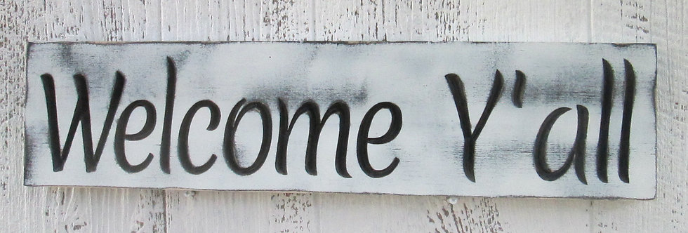 Welcome Y'all Distressed Sign
