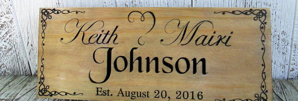 Wedding Established Sign, Custom Last Name Sign with a Heart, E101