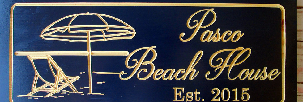 Beach Sign with an Umbrella and Chair, Custom Carved Family Name Sign, B100