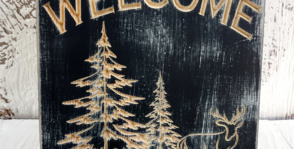 Distressed Welcome with Deer & Pines