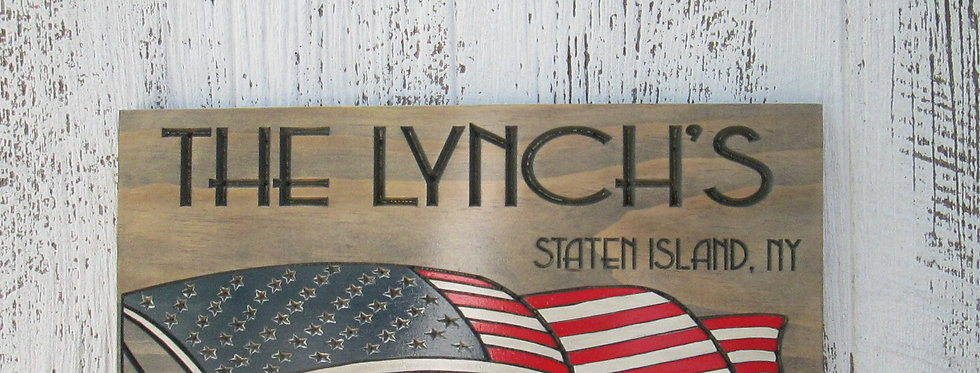 Last Name Sign with American Flag,  Personalized Military Veteran gift, FLAG106