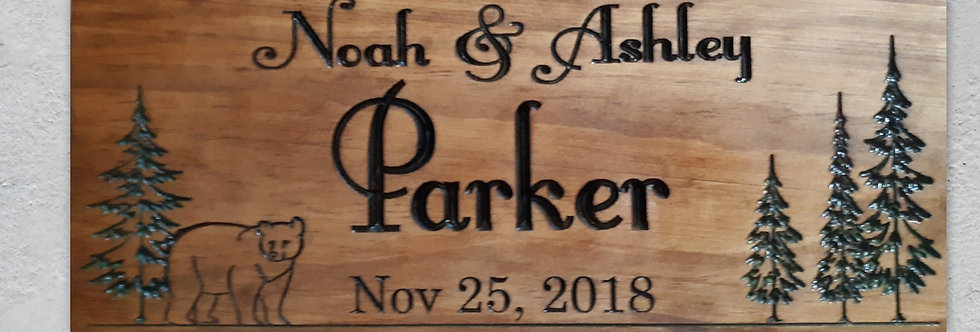Custom Bear and Pine Trees Cabin Sign, Personalized Family Established Sign C118
