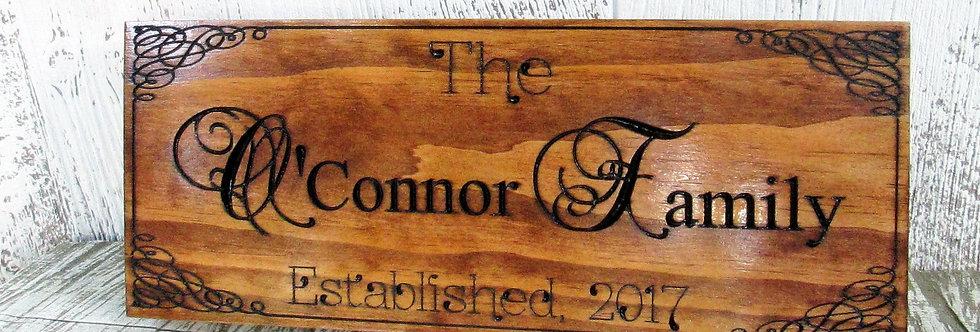 Last Name Family Sign, Custom Established Sign, E109