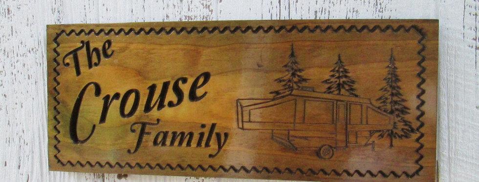 Pop-up Camper sign, Custom Family Campsite Sign, C106