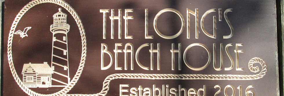 Custom Beach House Sign with Light House, Coastal Living Established Sign, B103