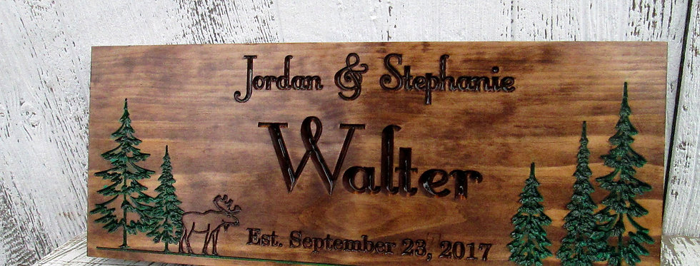 Carved Family Name Sign with Pine trees and Moose, Personalized Name Signs, C120