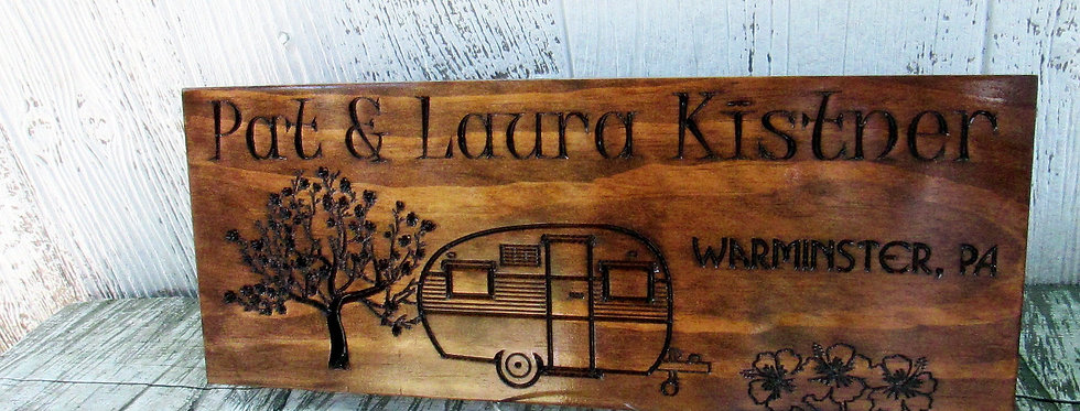Family Campsite Sign with a Retro Camper, Last Name Sign, C103