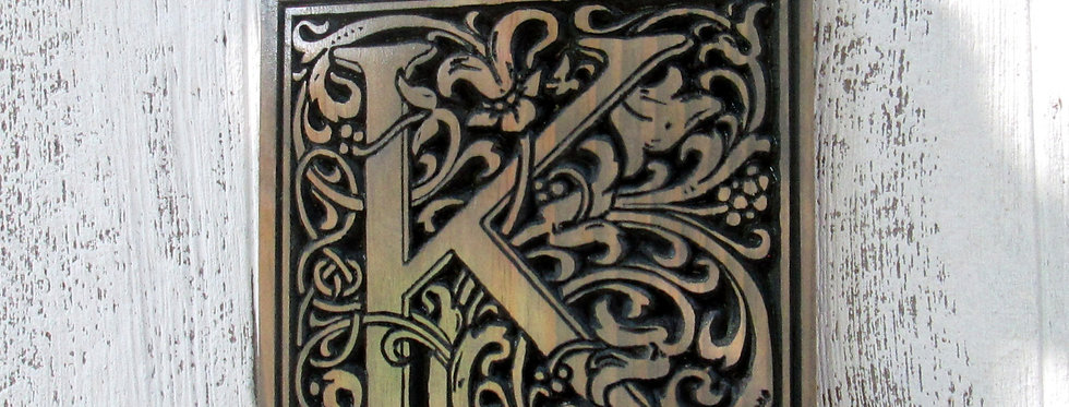 Carved Monogram Initial , Wooden Letter Sign, Vine Font Last Name Letter, E117