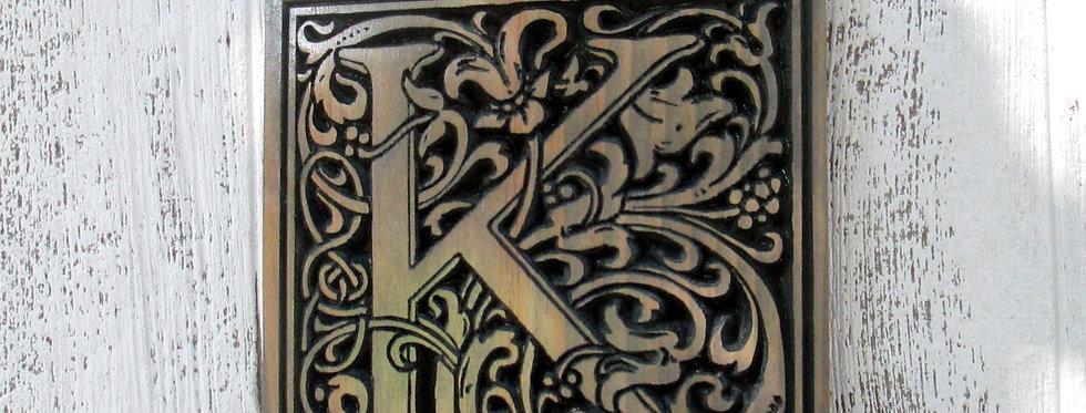 Carved Monogram Initial , Wooden Letter Sign, Vine Font Last Name Letter, E117