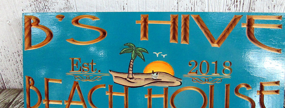 Personalized Beach House Sign with Palms, Hand Painted Beach Scene, B104