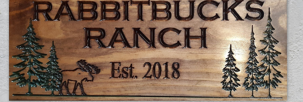 Carved Cabin Sign with Pine trees and Moose, Personalized Name Sign, C124