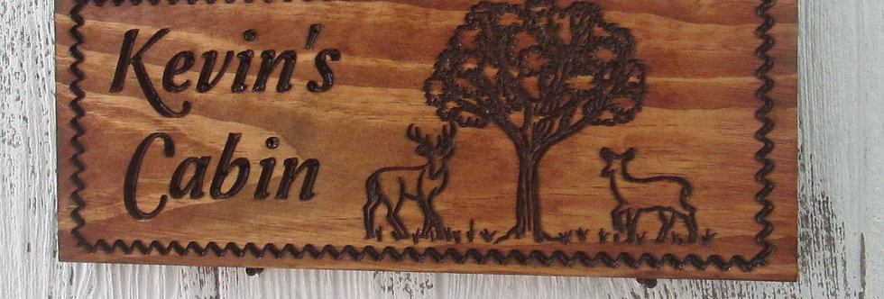 Cabin Sign with Deer, Custom Carved Wooden Sign for Camping, C125