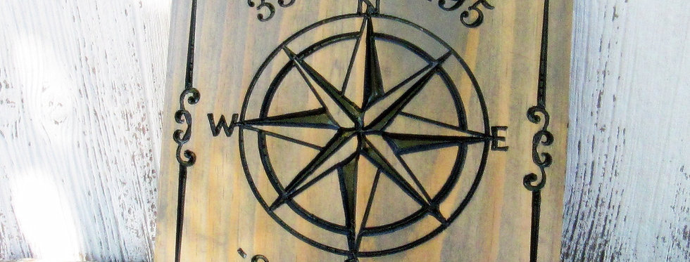 Longitude and Latitude sign with Nautical Compass, Custom Carved Signs, H105