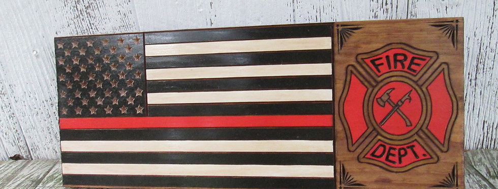 Red Line Fire Fighter Flag Sign with Shield, Custom Carved Wood Sign, FLAG105