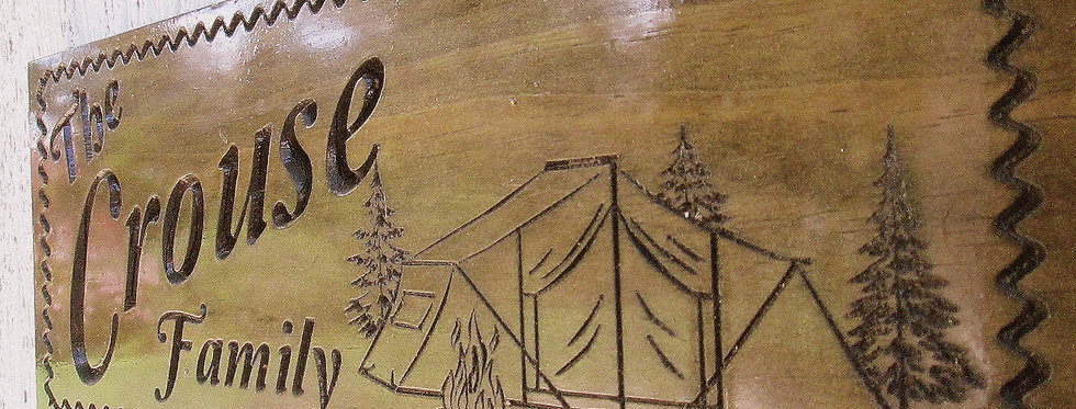 Custom Camping Sign with Tent, Family Campsite Sign, C105