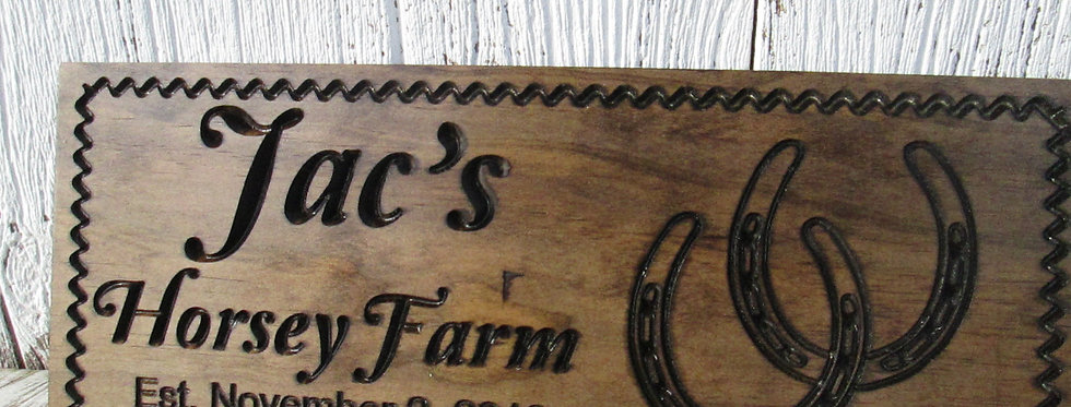 Personalized Horse Ranch Sign with Horse Shoes, Custom Horse Stable Sign, F108