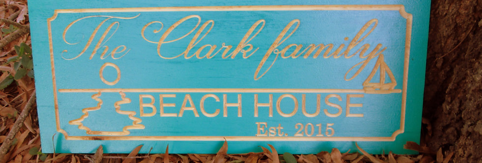 Beach House Sign with Sun and  Sail boat, Custom Carved Family Name Signs,B101