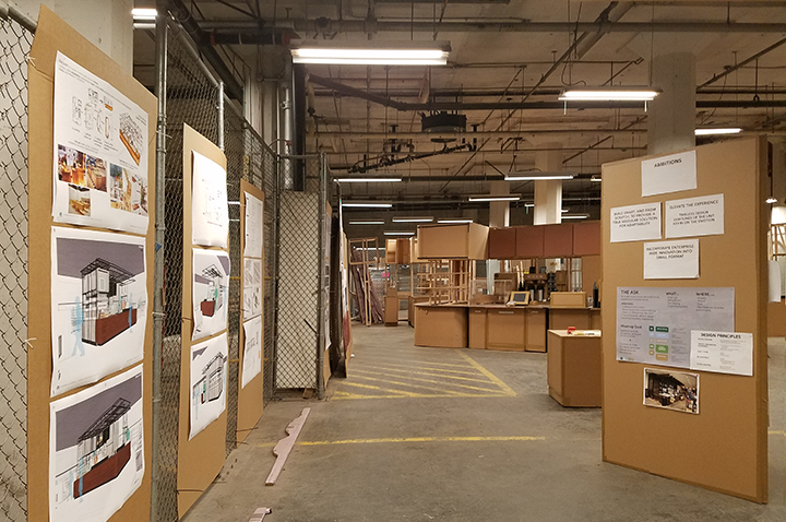 build space featuring presentation boards and full scale mockup