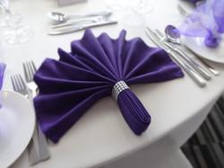 Flat fan Cadburys purple napkin