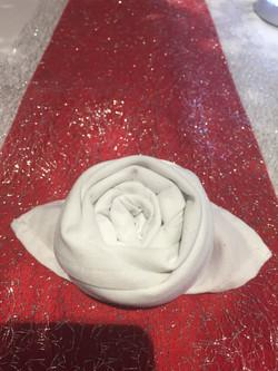 Rose napkin fold white