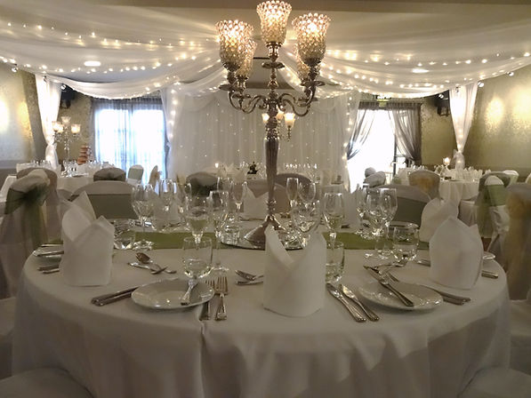 Ceiling Drapes and Candelabra at Longlands Hotel, Carnforth
