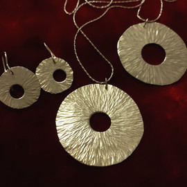 Circle in Circle Pendant and Earrings