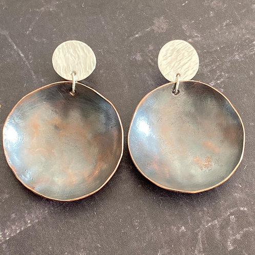 Copper & Silver Dish Earrings