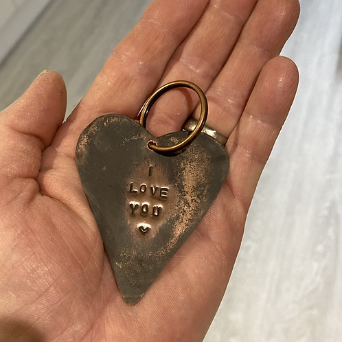 **SOLD**  Copper heart key ring