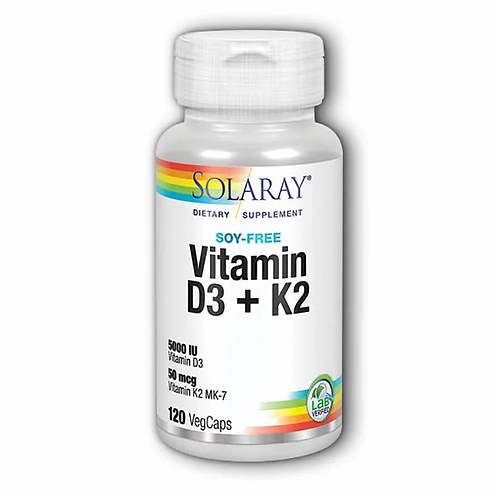 Solaray Vitamin D3 + K2, 60 veg caps