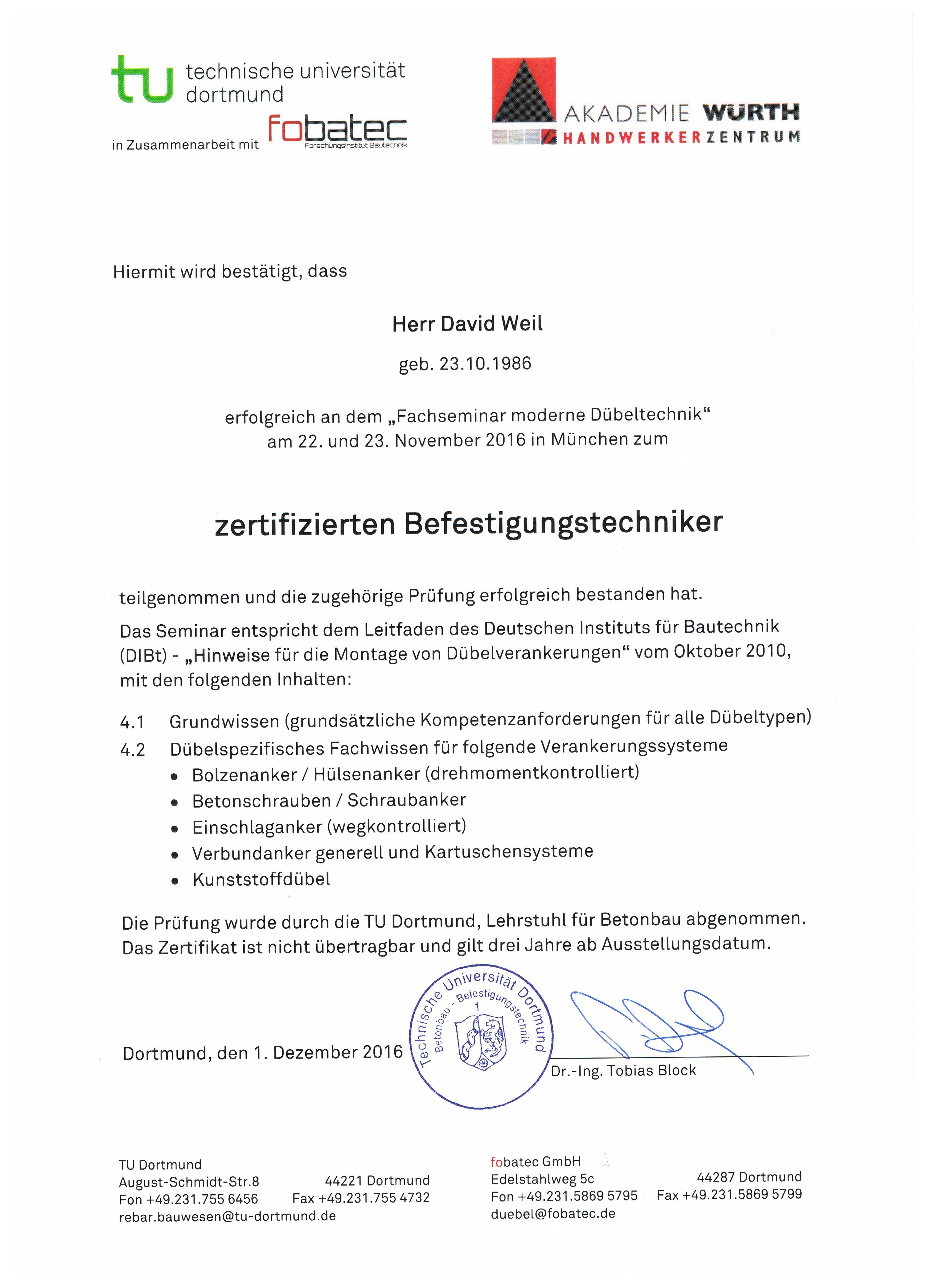 Zertifizierter Befestigungstechniker