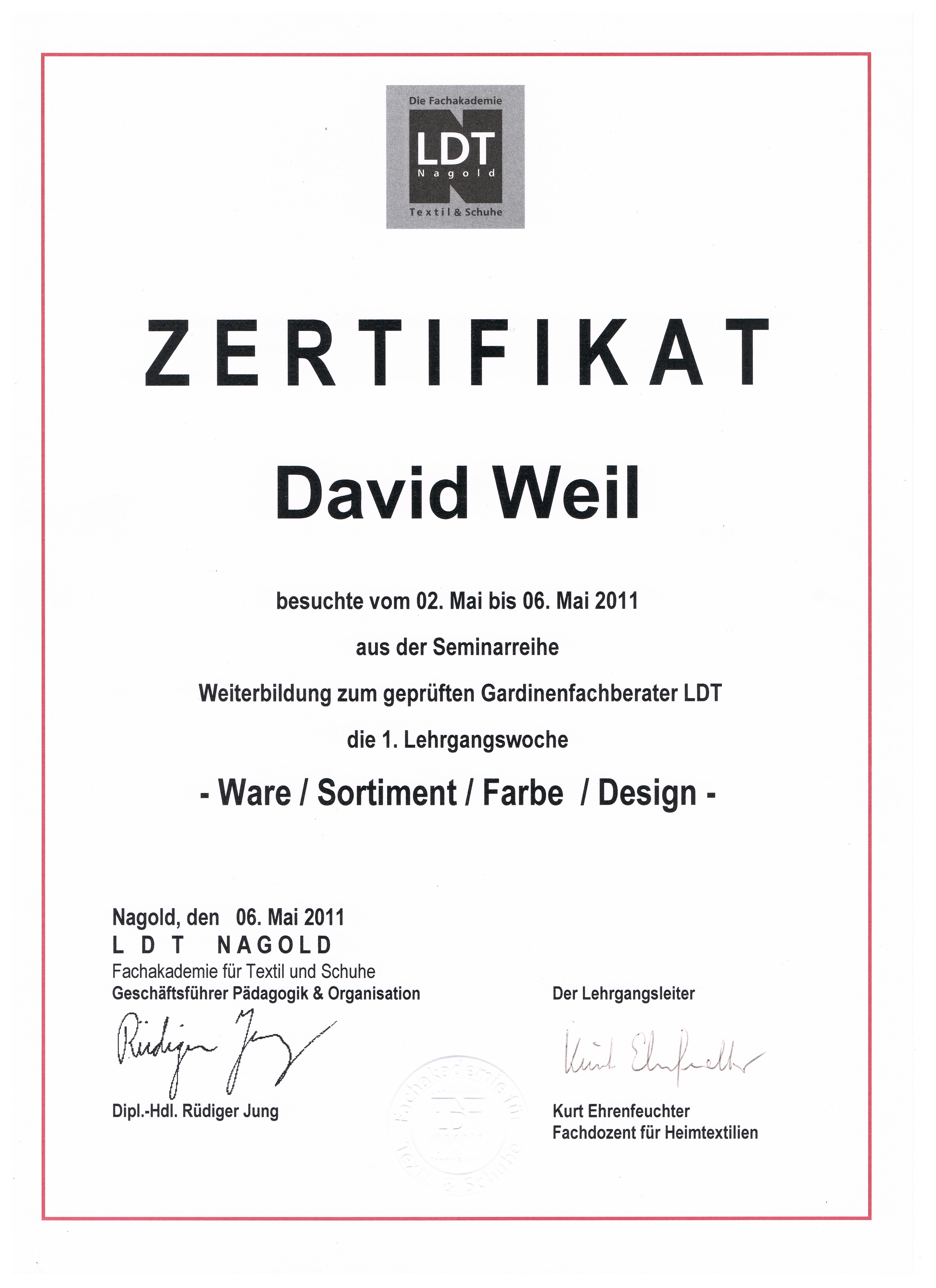 Zertifikat 1 001