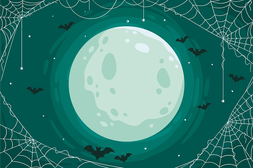 Full moon cobwebs and bats background image