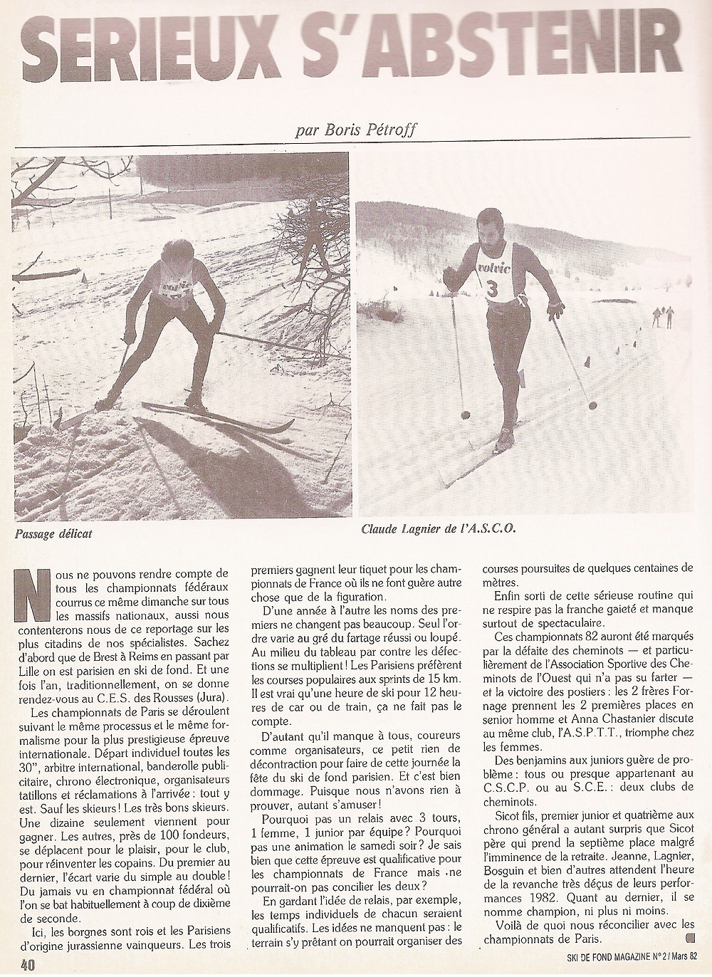 Article Ski de Fond Magazine 1982
