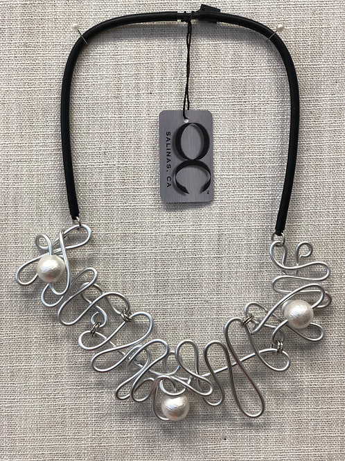 OC Blossom Statement Necklace Silver 20""