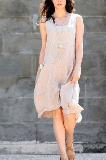 Luca Vanucci 100% Linen Dress in Solid Navy