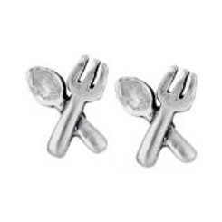 Fork and spoon stud earring sterling silver