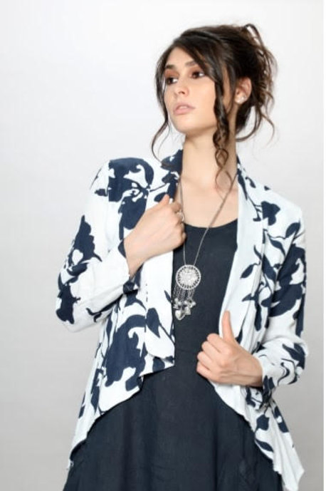 Luca Vanucci 100% Linen Jacket White With Navy Print