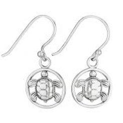 Turtle in circle dangle earring