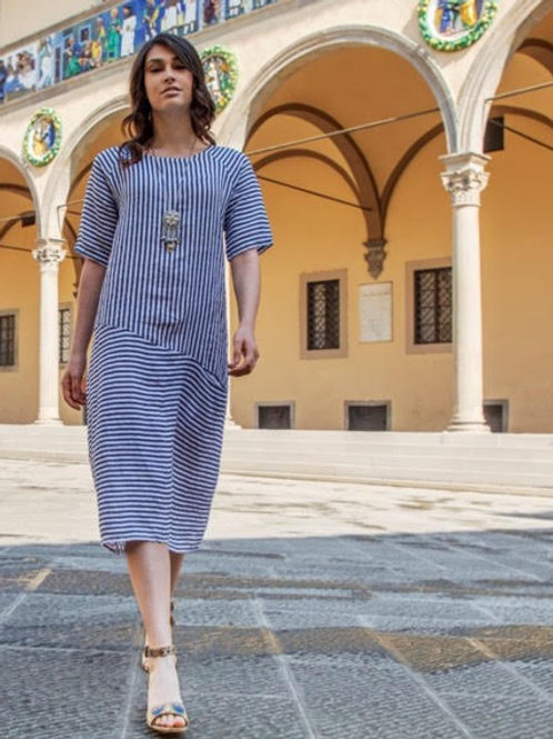 Luca Vanucci 100% Linen Dress White With Navy Stripes