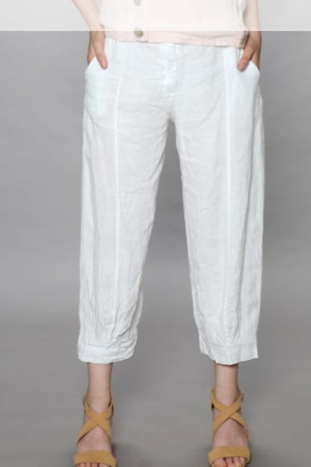 Luca Vanucci 100% Linen Crop Pant White With Navy Pinstripe (not shown in photo)
