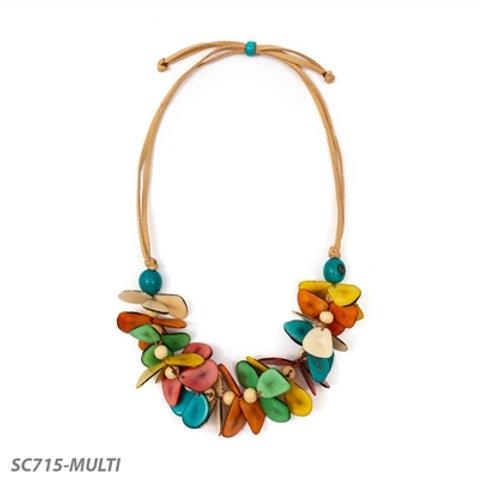 "Tagua and Bombona Seed Mariposa Necklace 22""- 30"" Multi-Color"