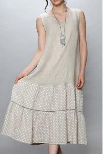 Luca Vanucci 100% Linen Dress Solid Top Polka-Dot Skirt