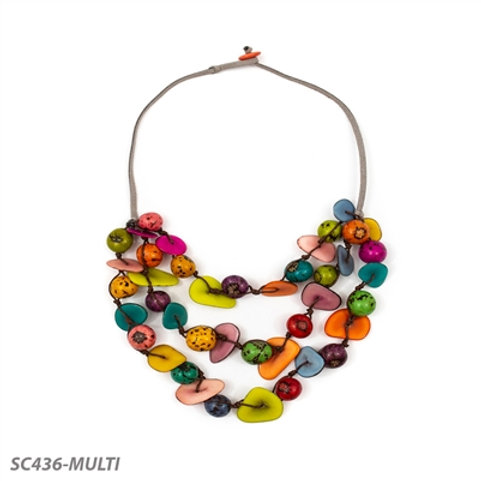 "Tagua and Bobona Seed Gisell Necklace 20"" in Multi-Color"